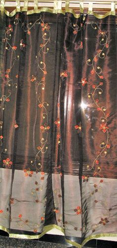 2 Embroidered Sheer Curtains Brown Mirror Work India Curtain Drape Panel 92 Ebay 52 00 Curtains Dark Curtains Drape Panel