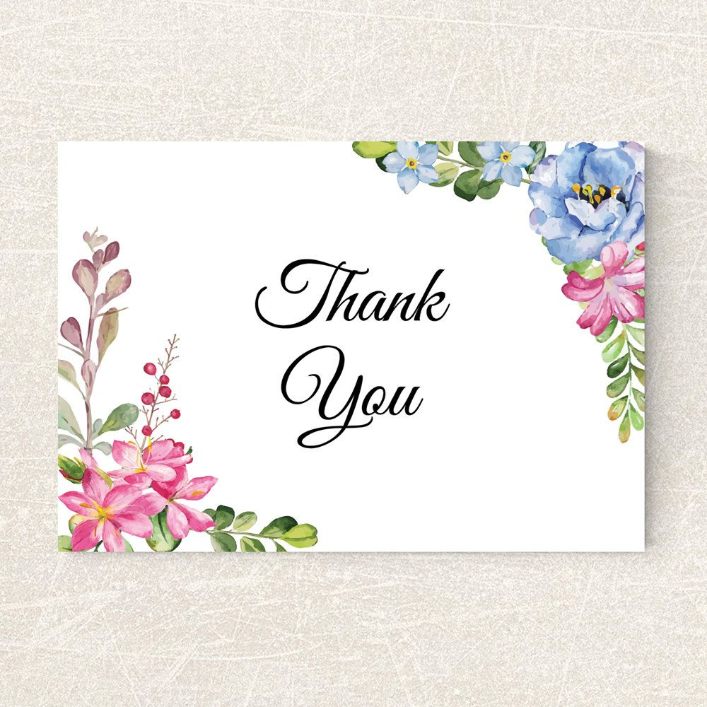 Wedding Thank You Card Printable Floral Thank You Card Calligraphy Thank You Card Boho Greenery Card PDF Instant Download SOPHIE 003 PDF Digital