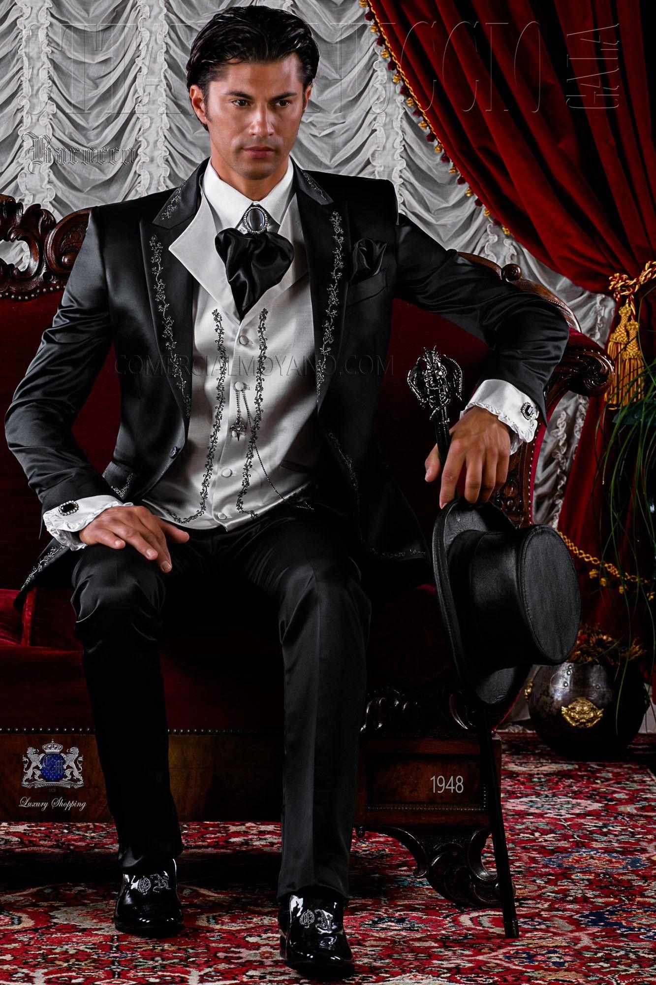 Costume de mariage noir avec broderie Ottavio Nuccio Gala