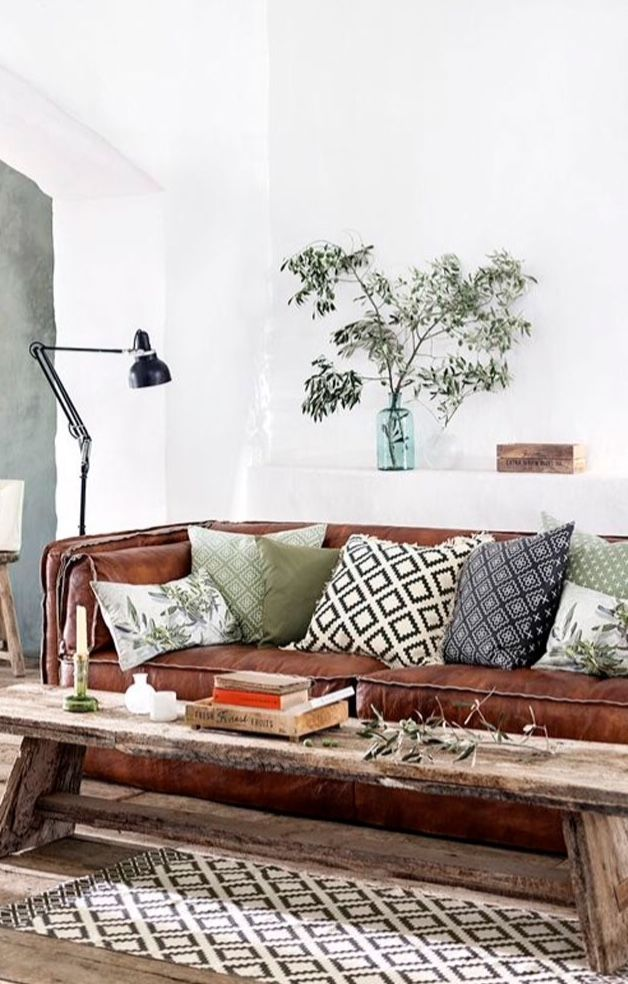 Beautiful Discover ideas about Rustic Living Rooms Geometric pattern grey rug with brown leather sofa Lovely - Inspirational Green Chesterfield sofa New Design