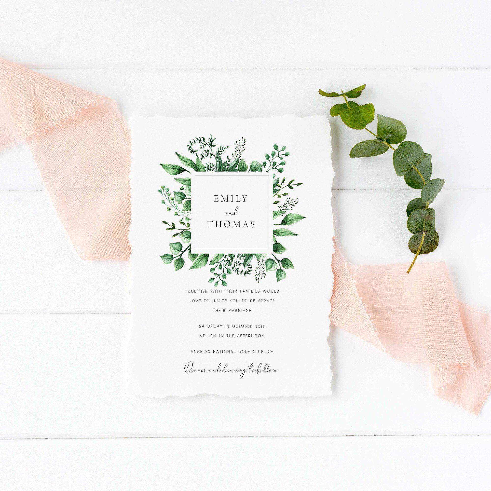 Greenery Wedding Invitation Set Wedding invitation template