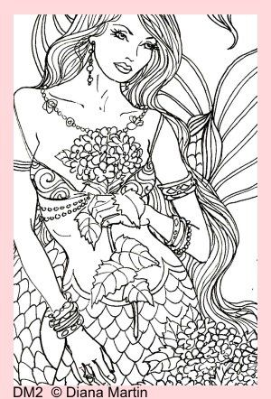 sexy adult mermaid coloring page fabric block crafts 8x10 dm2