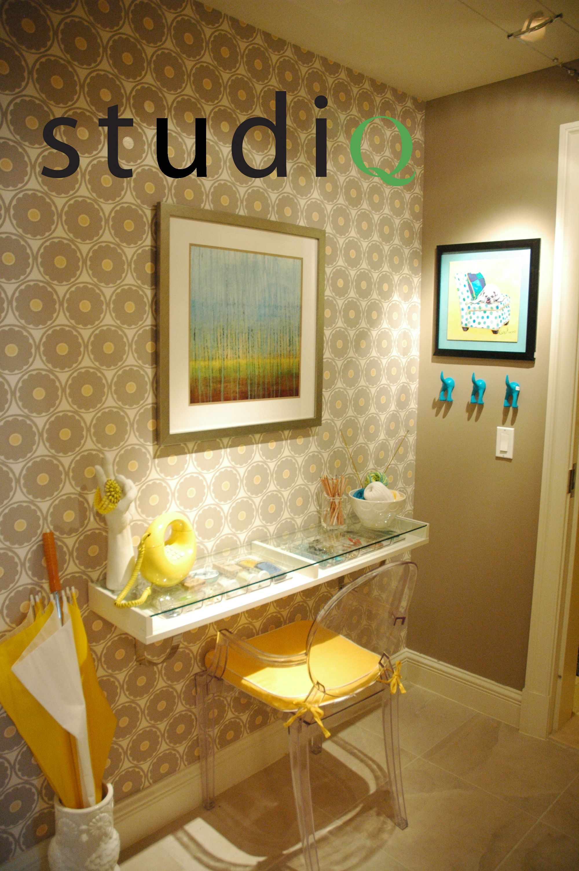This room was inspired by the retro wallpaper. The color scheme developed  into a playful
