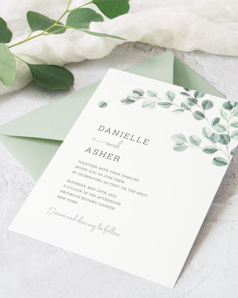Custom DIY Printable Tender Leaves Watercolor Wedding Invitation