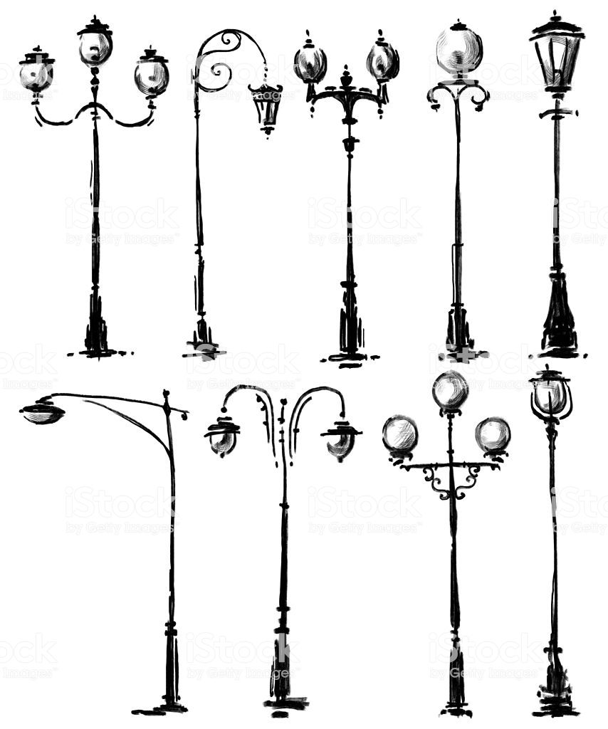 lamp posts drawing Royalty free Street Light stock