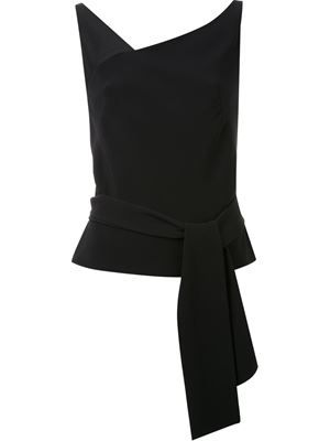 belted asymmetric neck top