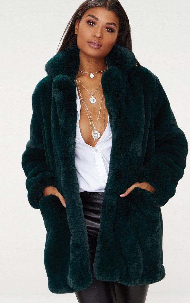be2eec3770b Emerald Green Premium Faux Fur Coat
