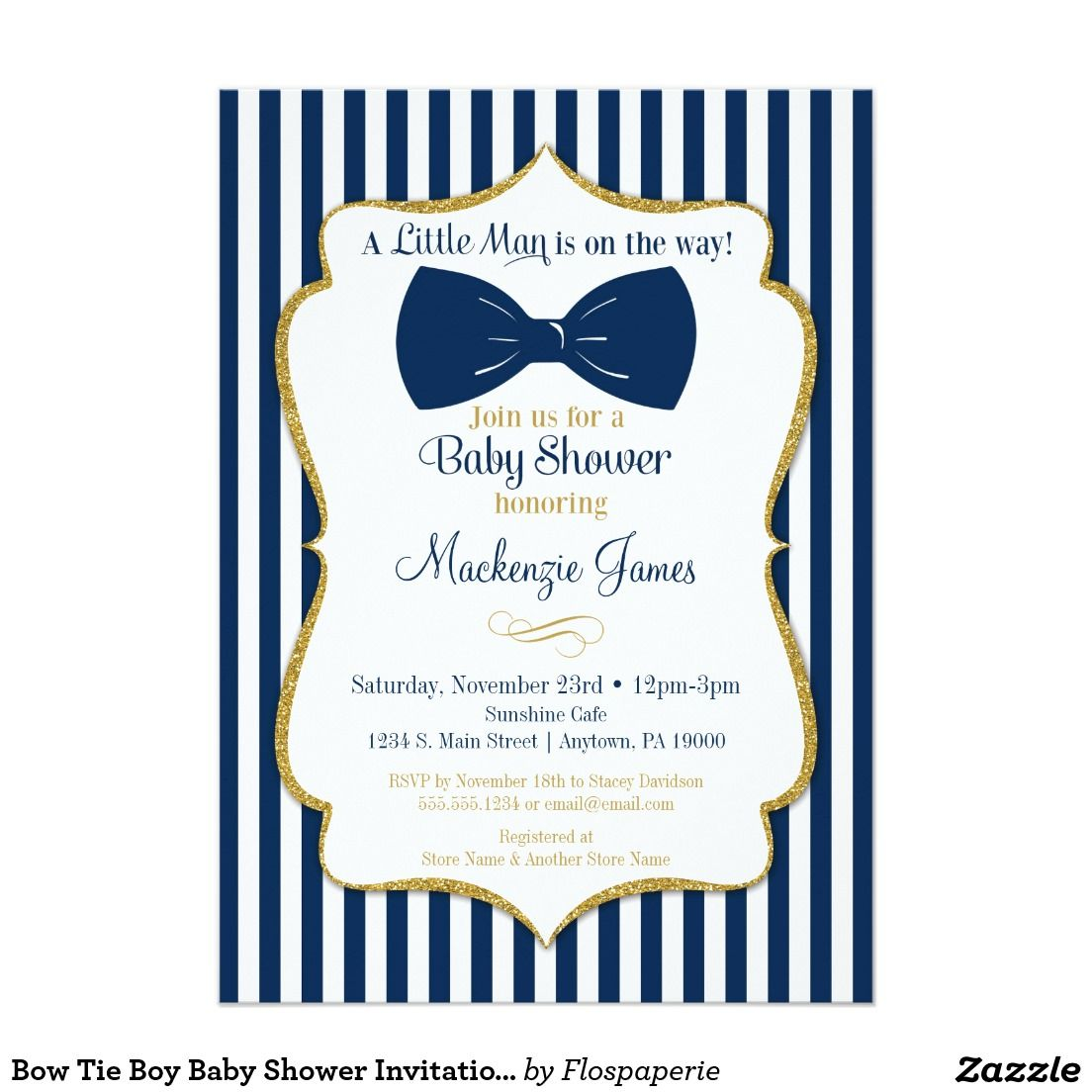 Mustache and Bow Tie Baby Shower Invitations