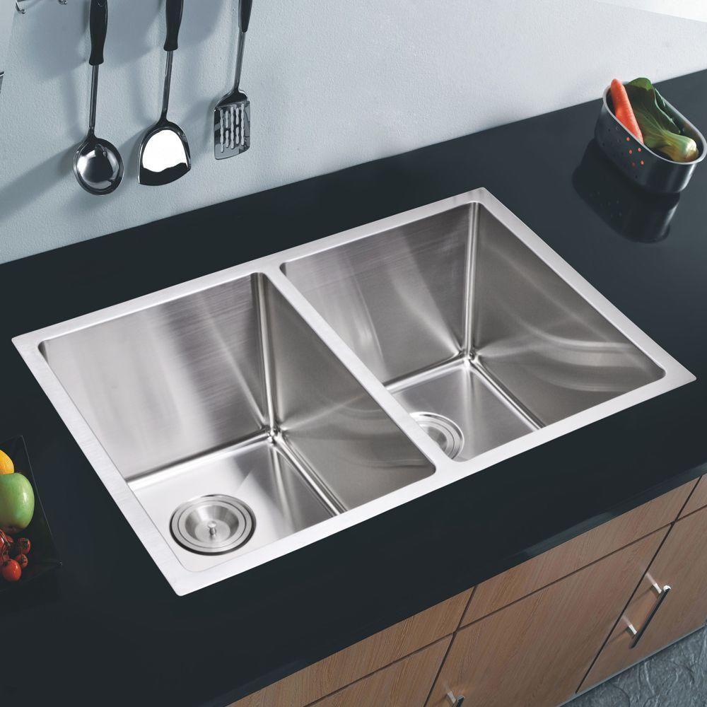 Undermount Small Radius Stainless Steel 31X18X9 0Hole Double Best Stainless Kitchen Sinks Inspiration