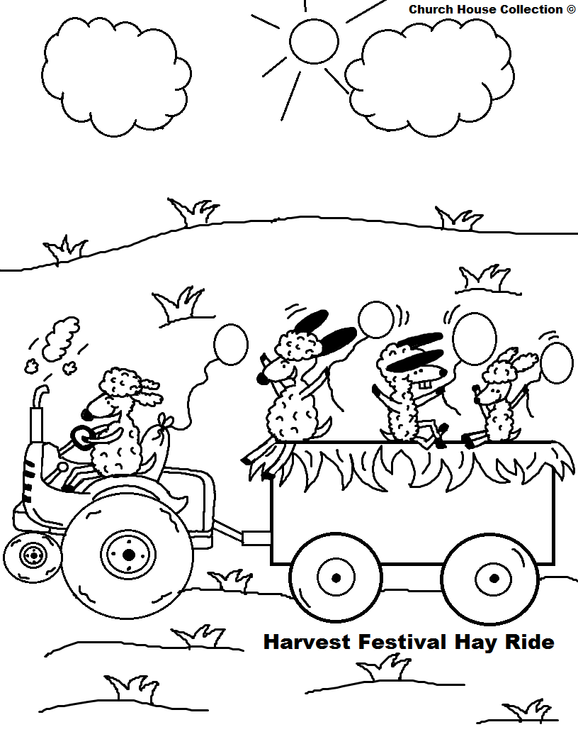 Fall Festival Hay Ride Harvest Festival Hay Ride Coloring Page PNG ...