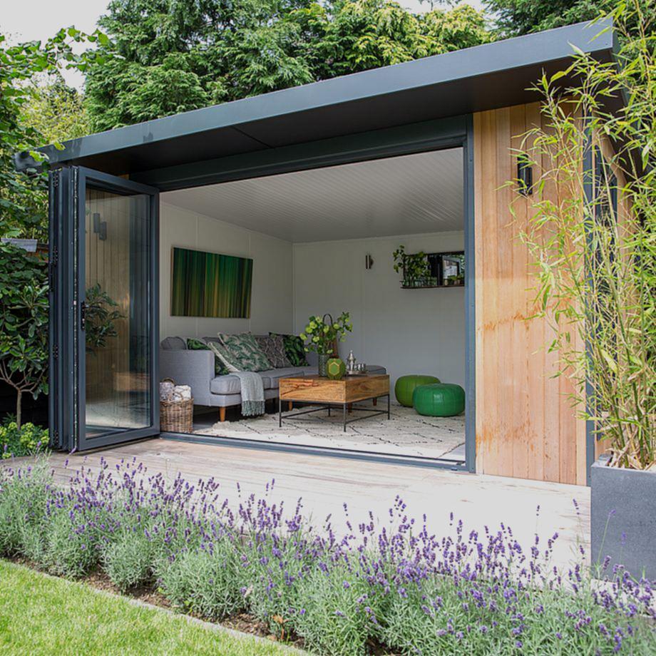 Garden Makeover With Outdoor Kitchen Hot Tub And Summerhouse Summer House Garden Garden Cabins Outdoor Garden Rooms