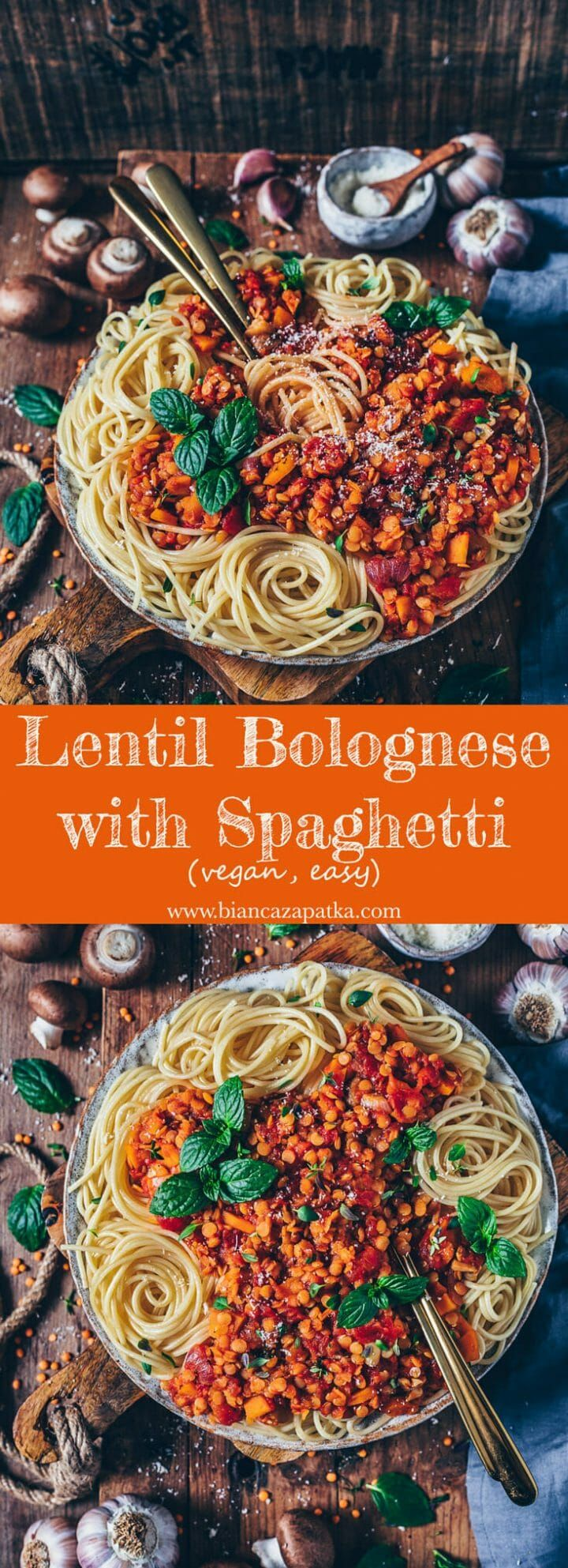 Lentil Bolognese with Spaghetti (vegan, easy