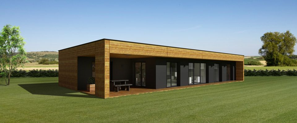 Photo de maison kit bois de r ve toit plat cube for Autoconstruction maison container