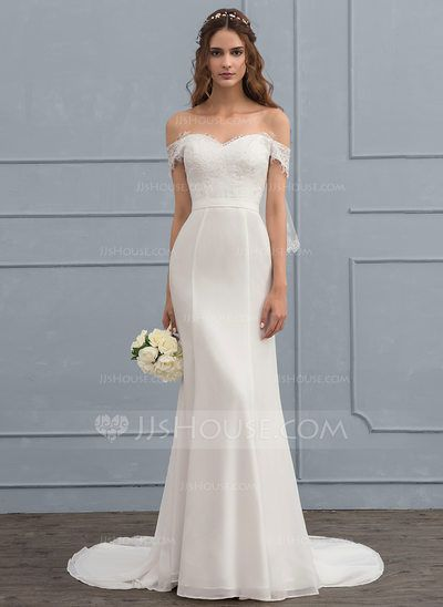 Trumpet Mermaid Off The Shoulder Court Train Chiffon Lace Wedding Dress With Beading Sequins Off Shoulder Wedding Dress Trumpet Wedding Dress Wedding Dresses