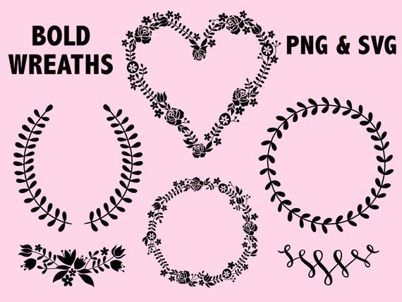 Photo of BOLD WREATHS and LAURELS, hand-drawn wreaths, doodle clipart, rustic, drawn wreaths, png, svg, vector wreaths, wedding, laurels