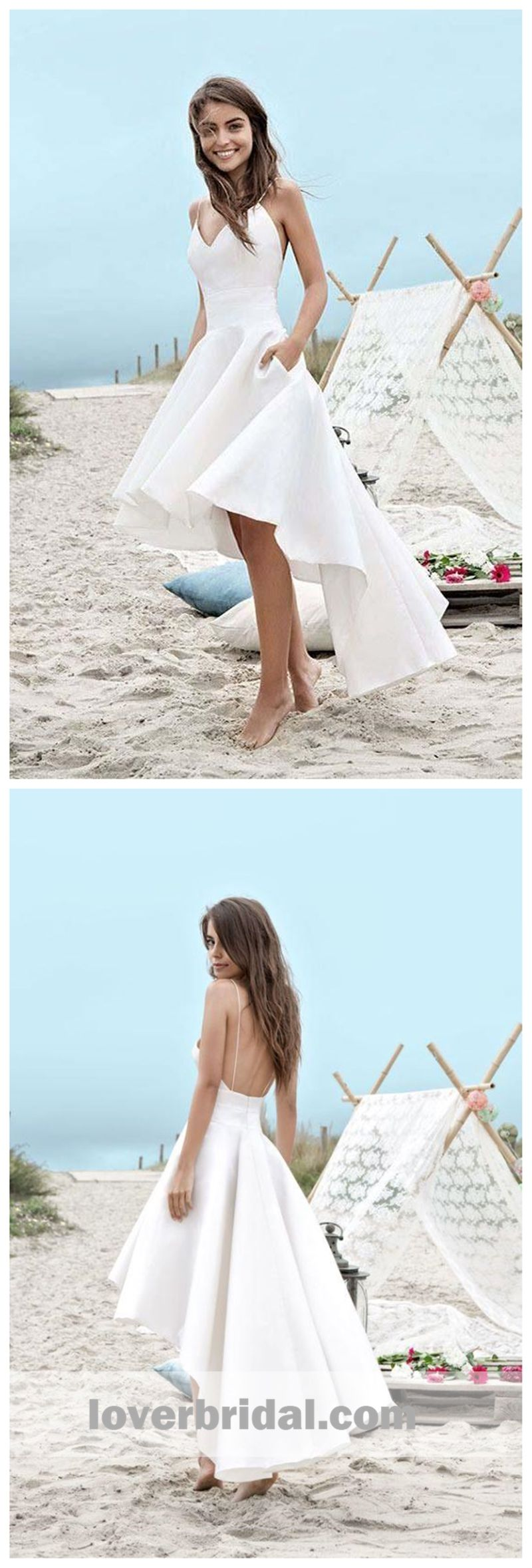 White high low simple cheap homecoming dresses online cm in