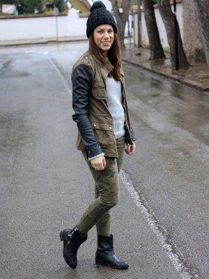 Mumstyle Outfit Invierno 2013. Combinar Chaqueta-Cazadora Verde oliva  Blancp a24abd2bb1b
