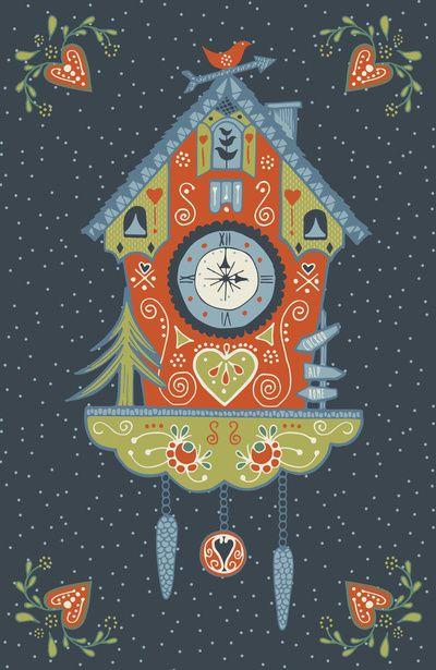 Cuckoo Clock Art Print Wallpaper Relogio Cuco Ilustracao