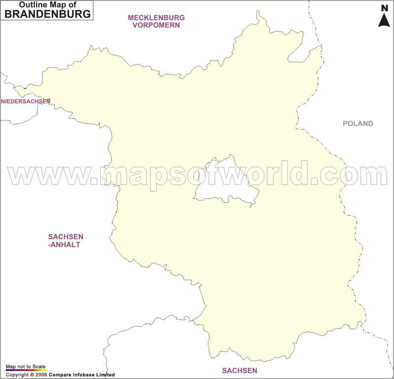 Brandenburg Outline Map Germany Map Brandenburg Map