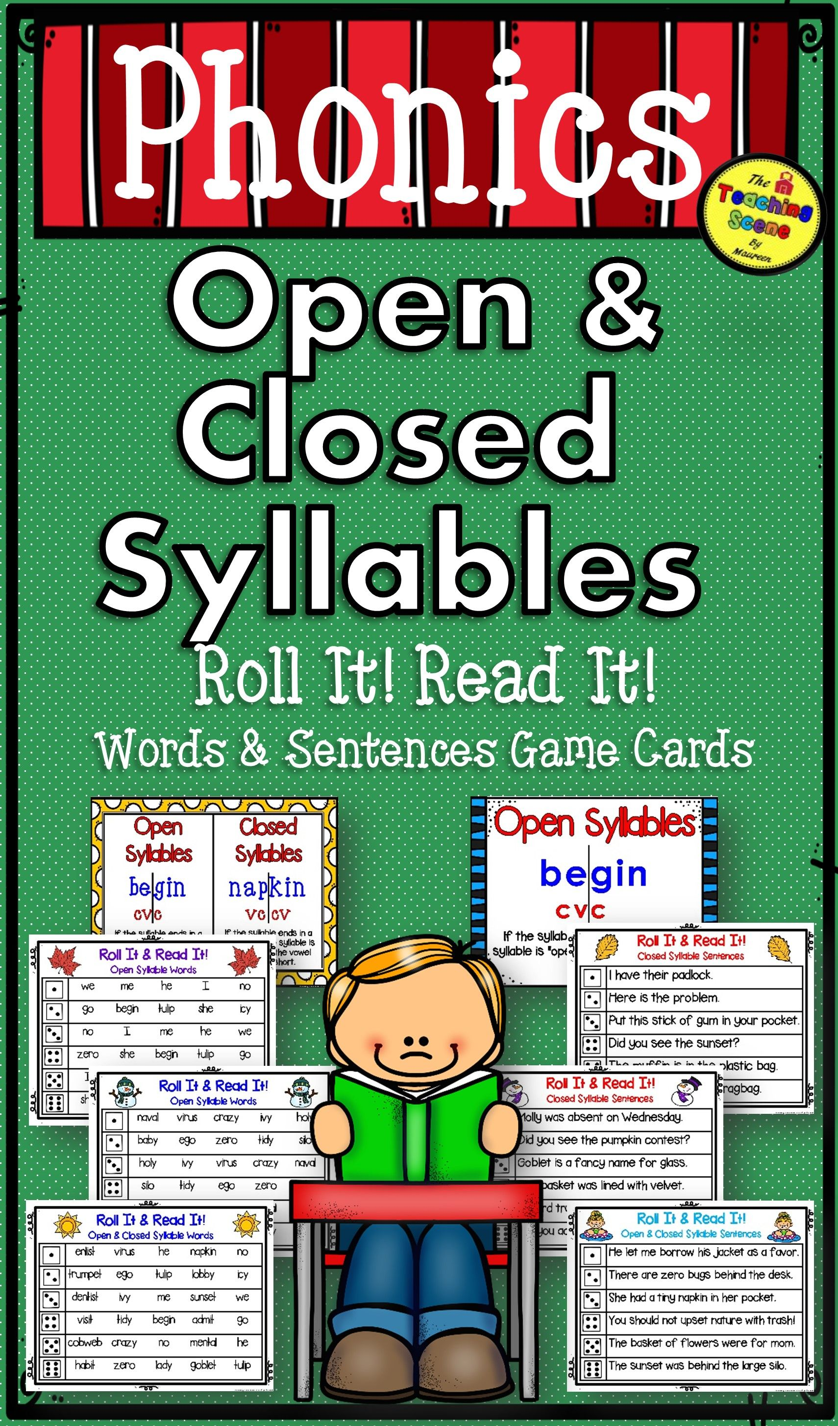 Open Amp Closed Syllables Roll It Read It Game Cards Plus
