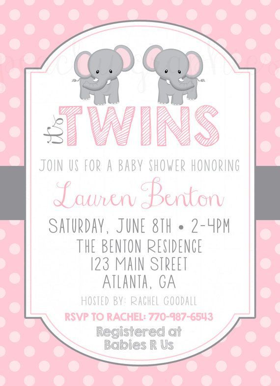 Elephant Twins Baby Shower Invitation   Google Search