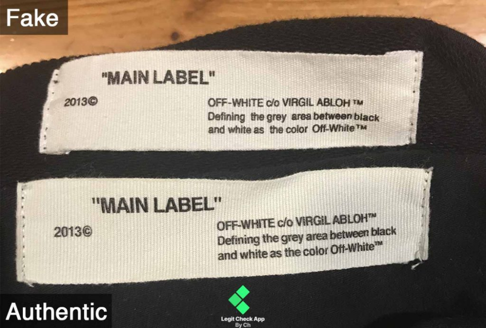 Off White Fake Vs Real Guide Main Label Neck Tag Legit Check App Off White Off White Clothing Vintage Tags
