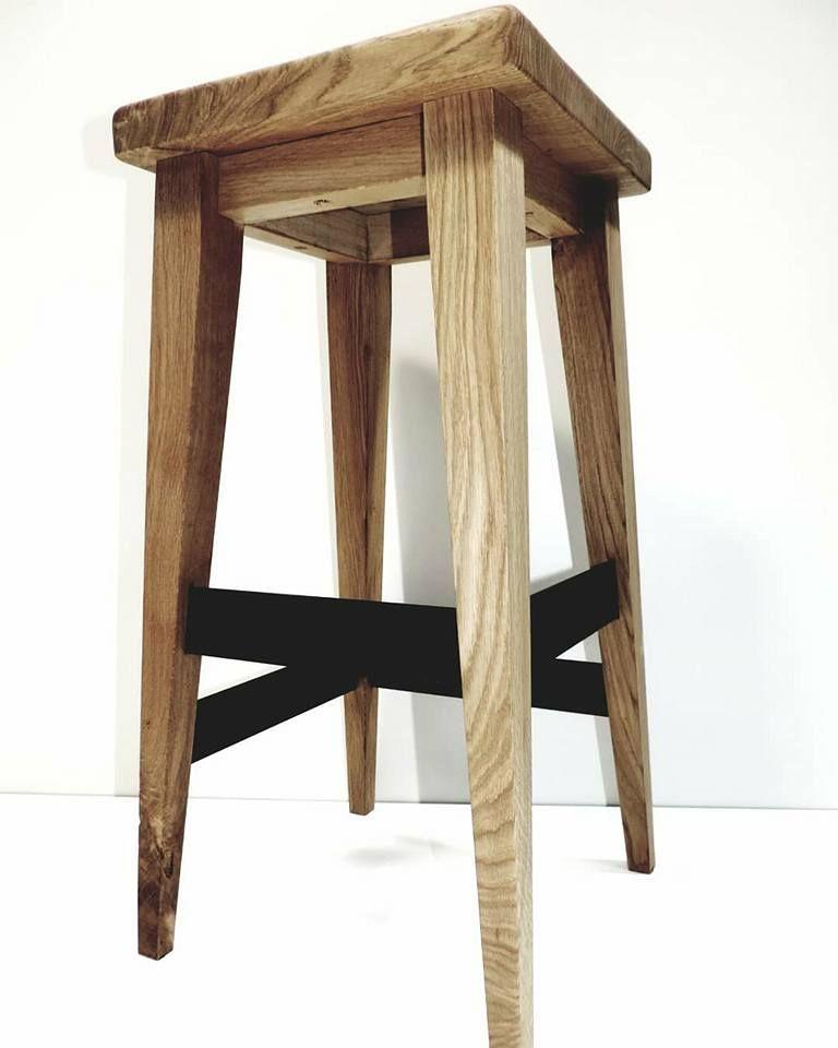 Hocker Im Industrie Design Aus Eiche Massivholz Und Schwarzem Metall Perfetl Fur Kuche Bar Oder Esstisch Bar Stools Stool Furniture