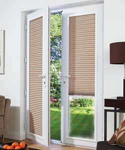 french doors white framed pleated perfect fit blinds BLINDS
