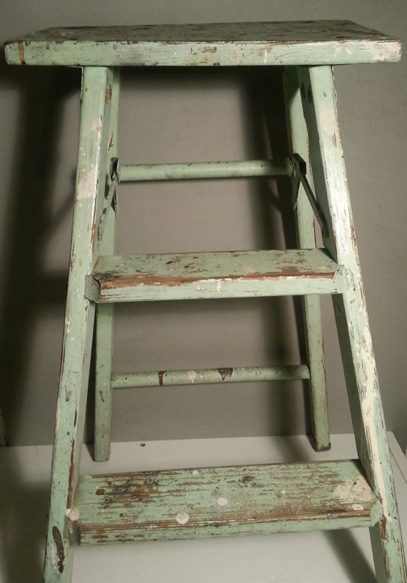 Vintage Old Wood Step Ladder Distressed With By Angryantelope 34 00 Wood Steps Wooden Ladder Old Wood