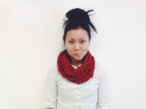 Chunky Knit Herringbone Cowl  Red by SkillaKnits on Etsy, $22.00