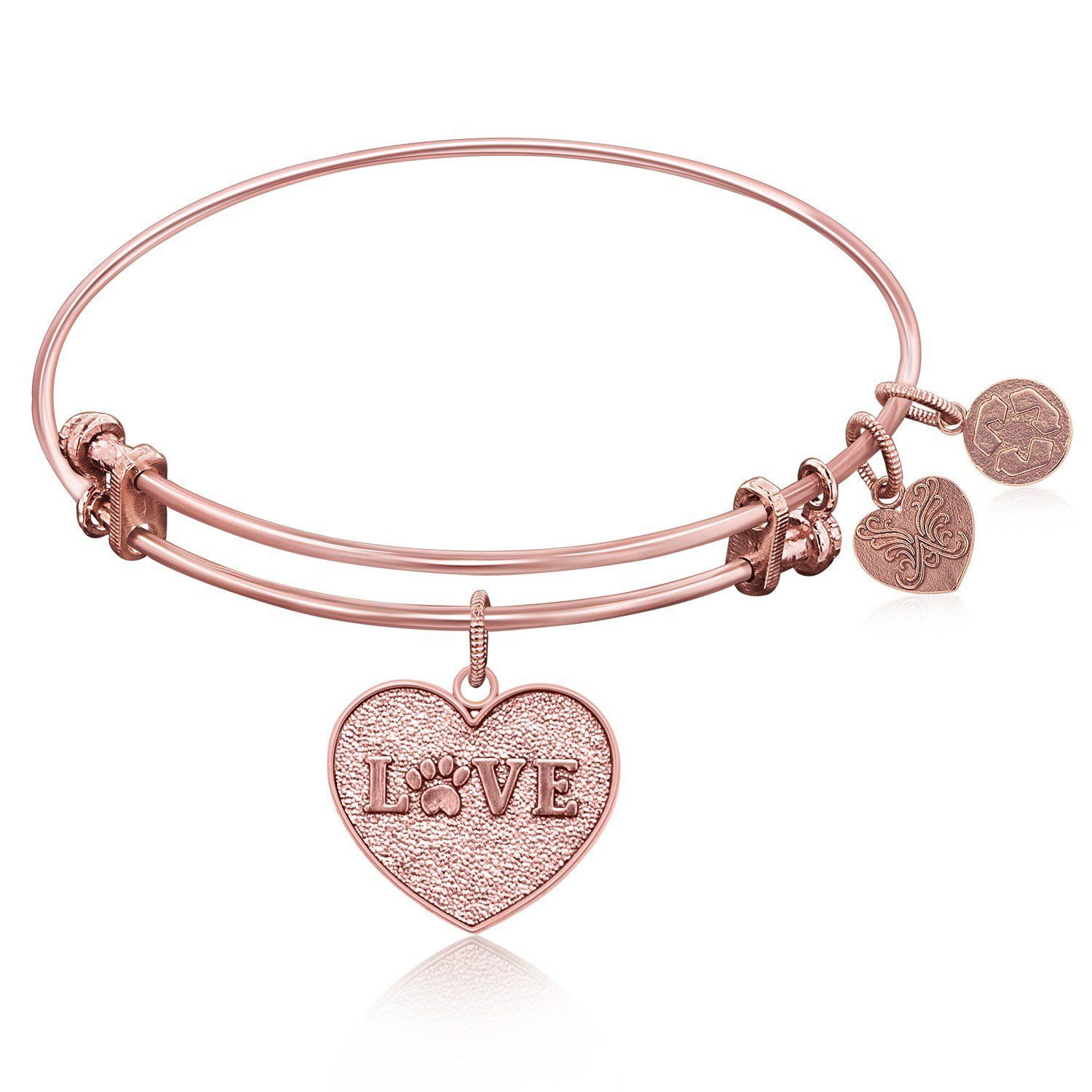 Expandable Bangle in Pink Tone Brass with Love Symbol