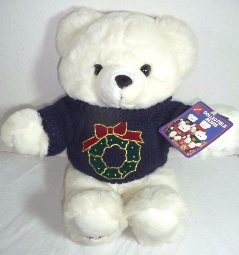 KMart Christmas White Teddy Bear 1997 Plush Stuffed Animal Green ...