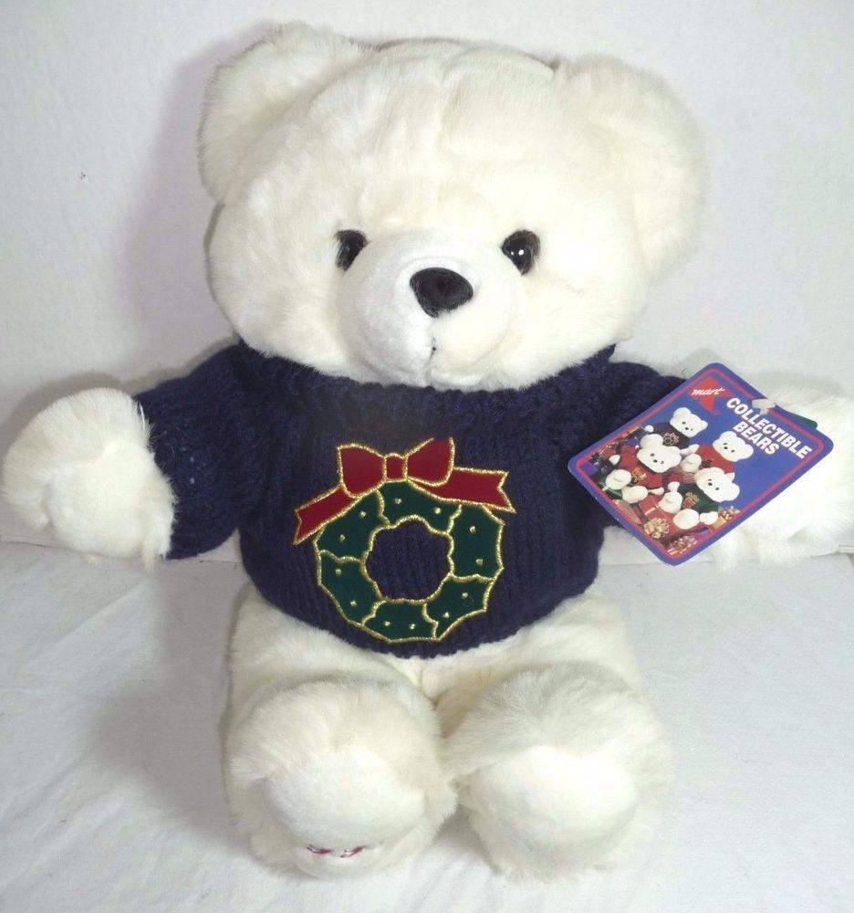 KMart Christmas White Teddy Bear 1997 Plush Stuffed Animal Green ...