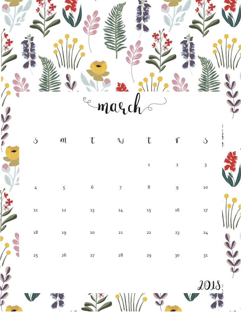 cute march 2018 template floral design cute calendar wall calender calendar wallpaper iphone