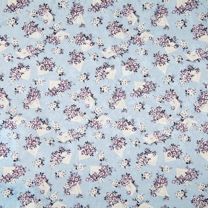 Anna Sui Icy Blue And Lavender Floral Lightweight Silk Mood Fabrics Watercolor Clouds Icy Blue
