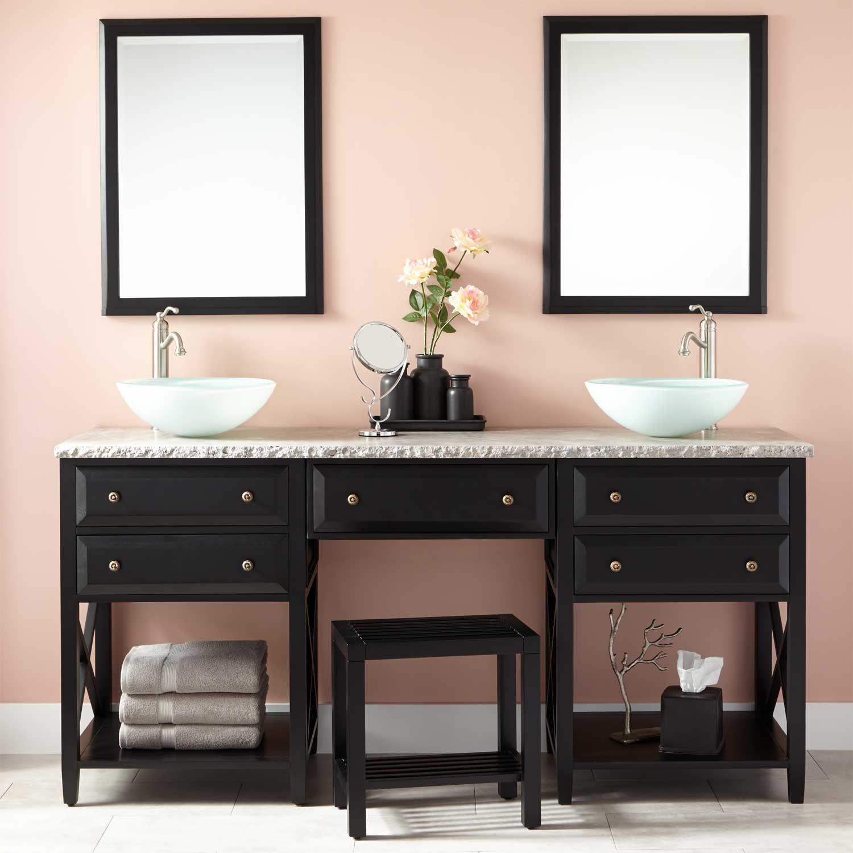"""72"""" Glympton Vessel Sink Double Vanity with Makeup Area"""