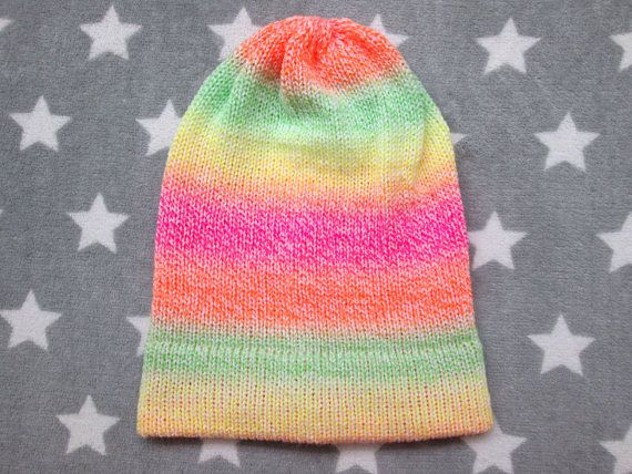 Knit Hat - Neon Pastel Gradient - Yellow Green Orange Pink White ... 17ab1c96ff4