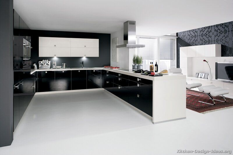 A Black And White Kitchen With Contemporary Cabinets Kitchen Layout White Modern Kitchen Modern Black Kitchen