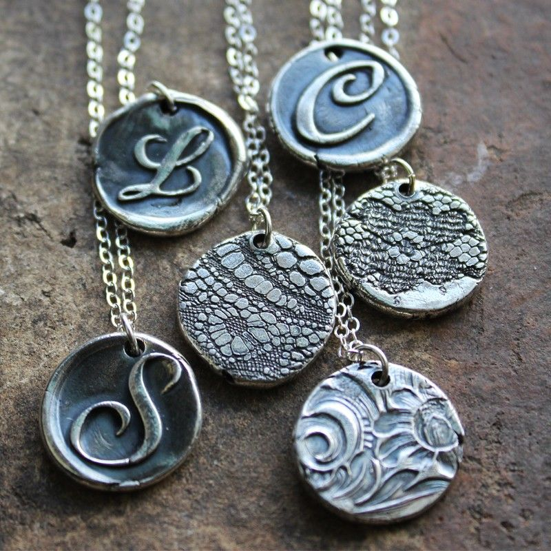 Wax Seal Monogram Reversible Lace Necklace - Use salt dough and stamp