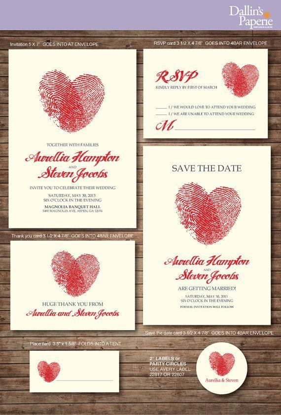 Wedding Invitation Printables, Finger Print Heart, Customized DIY, Thank  You Card, Save The Date, RSVP | Fingerabdrücke, Hochzeitseinladung Und  Herzchen