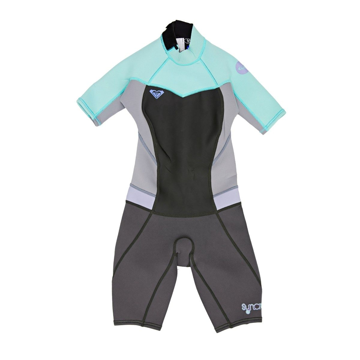 Girl s Roxy Wetsuits - Roxy Syncro 2 1mm FL Back Zip Shorty Wetsuit -  Graphite 69c747653