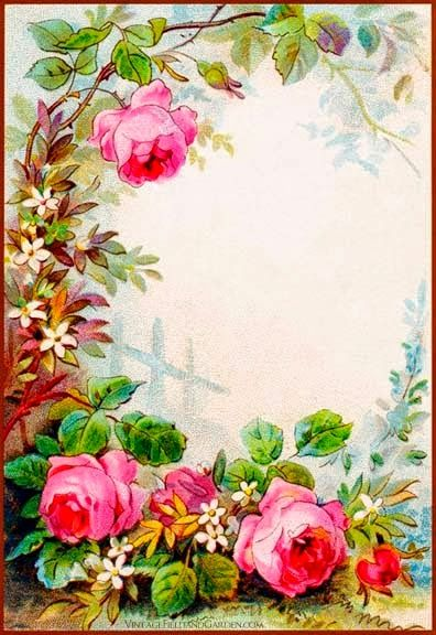 Vintage Field Garden Illustrated Border Flowers In A Victorian Cottage Gift Tag Of DL