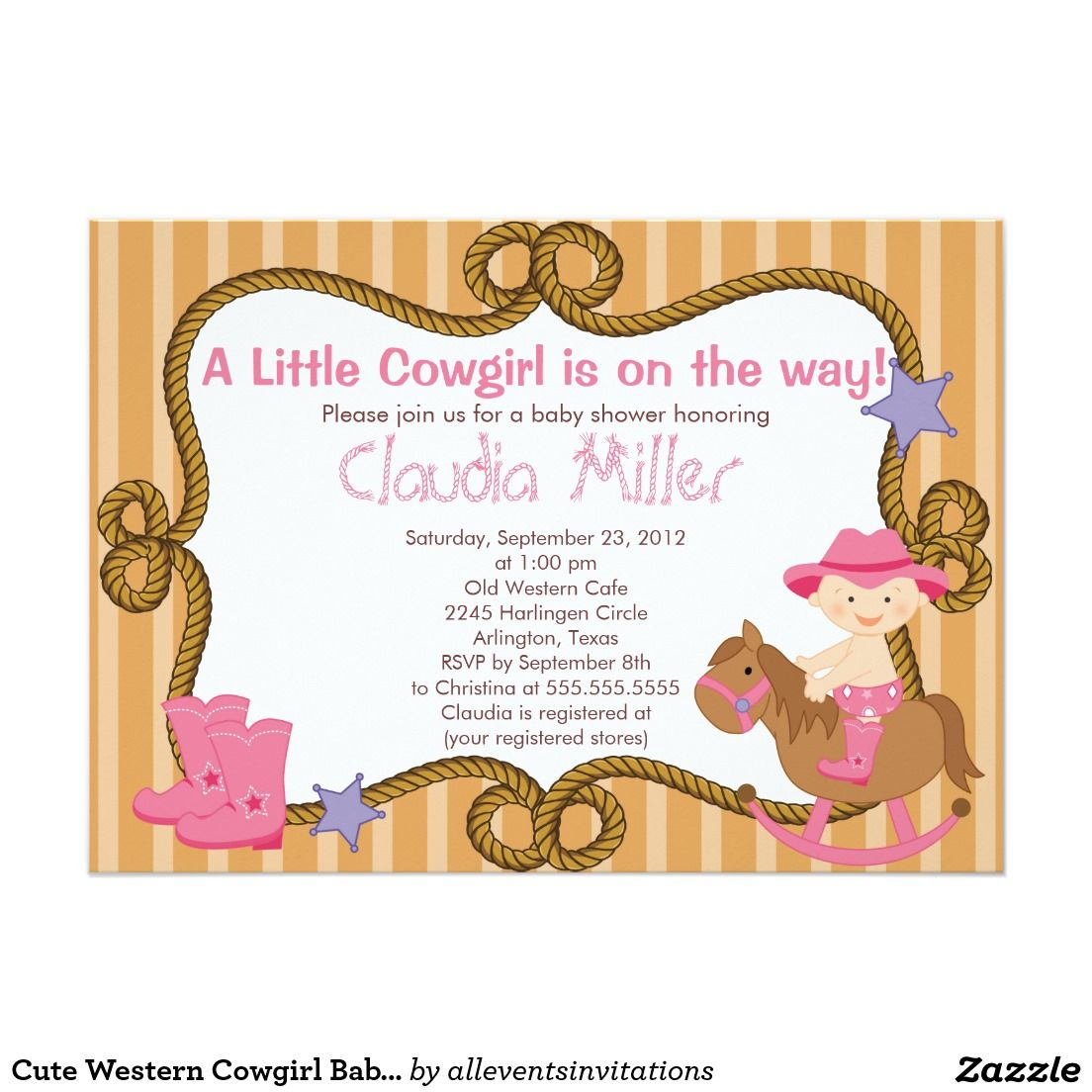 Cute Western Cowgirl Baby Shower Invitation 5\