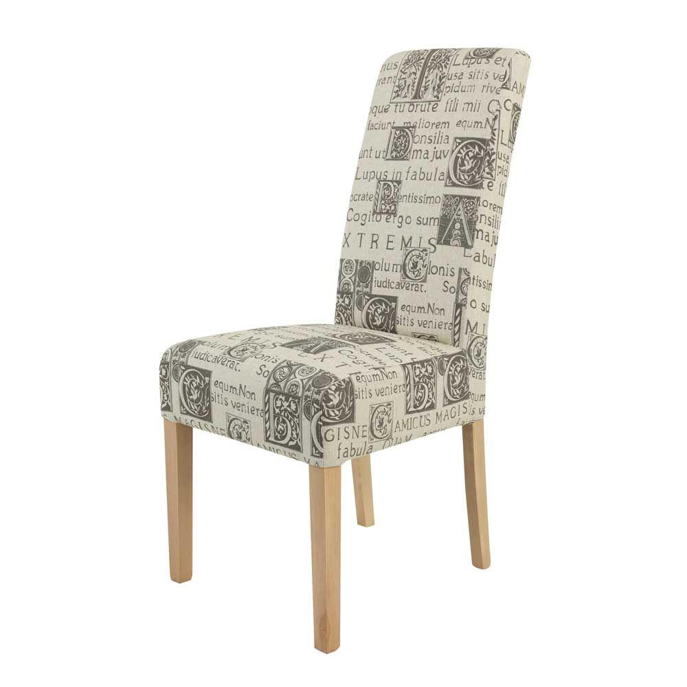 Awesome Stuhle Esszimmer Beige #12: Gepolsterter Stuhl In Beige Bedruckt Stoff Buche Massiv (2er Set) Jetzt  Bestellen Unter: Https://moebel.ladendirekt.de/kueche-und-esszimmer/stuehle-und-  ...