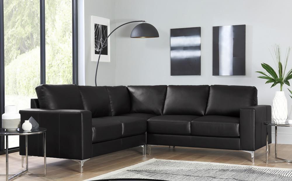 Baltimore Black Leather Corner Sofa Only £699.99   Furniture ...