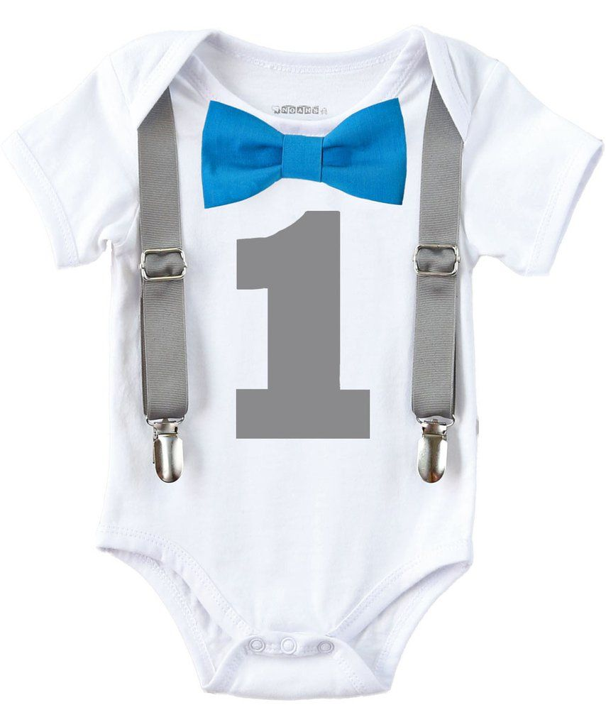 a8ac3ac1 Baby Boy First Birthday Outfit - Grey and Blue - Boys First - Birthday  Clothes - Birthday Shirt - Suspenders Bow - Elephant Theme Party Outfit