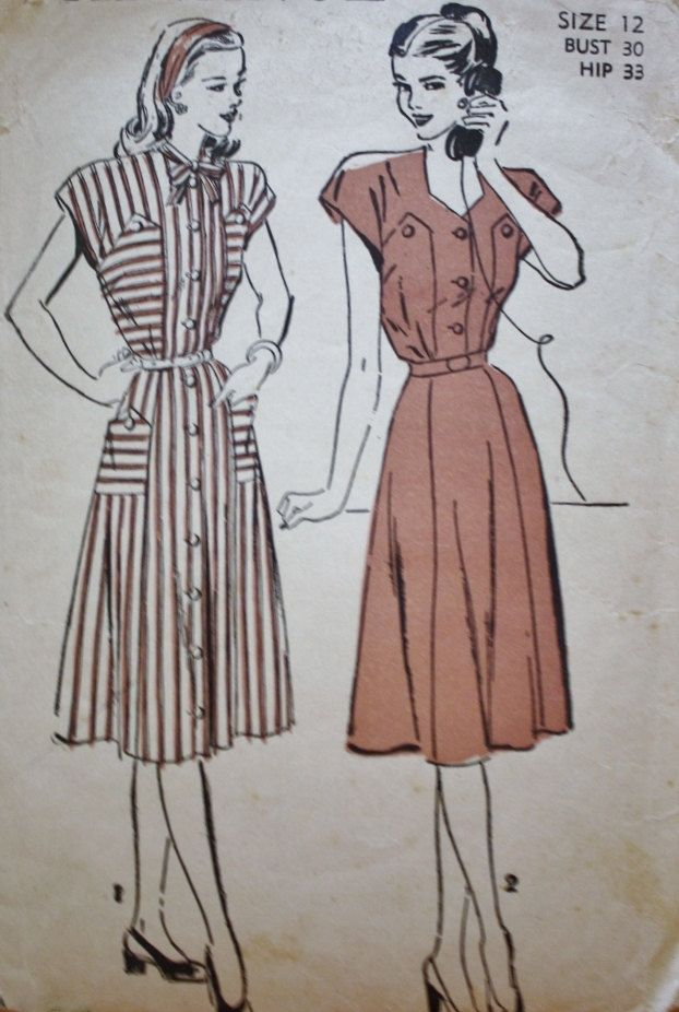 Vintage 40s Dress Patterns/Advance Pattern 4585/1940s Sweetheart ...