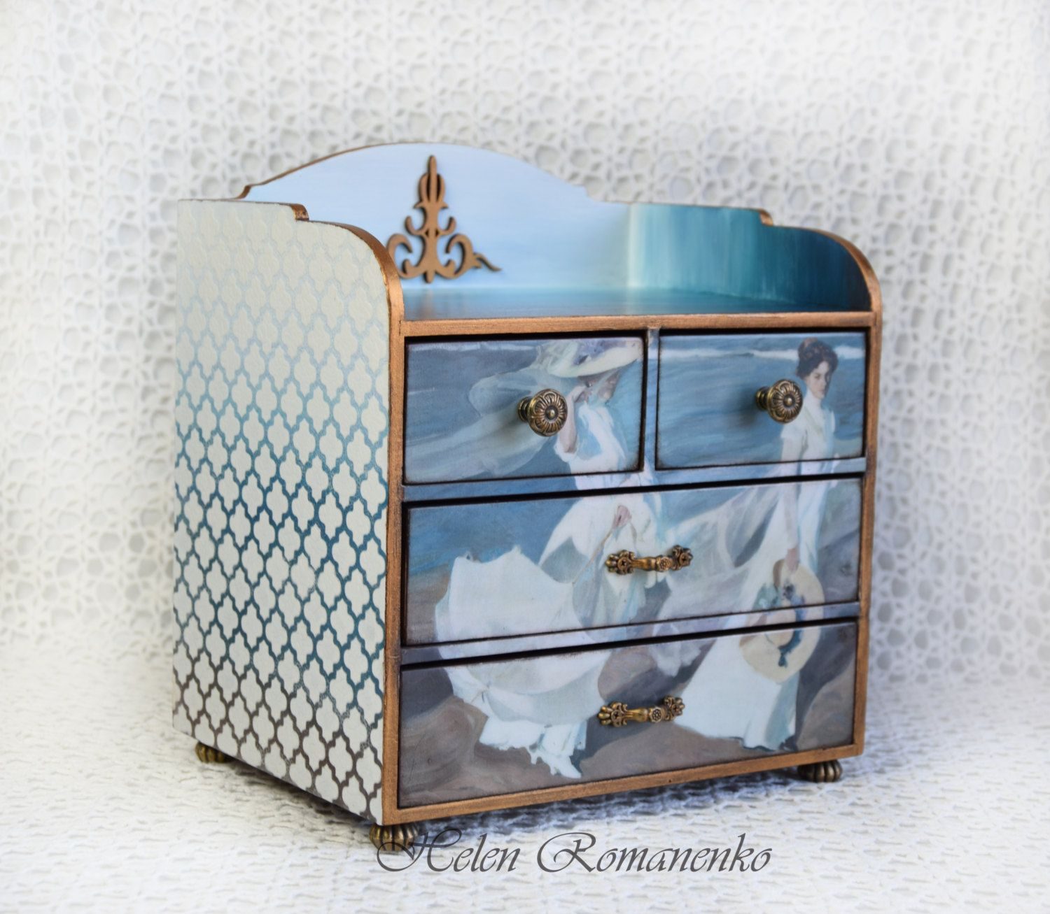 Large Jewelry Box-Jewelry Makeup Storage-Mini Chest of Drawers ...