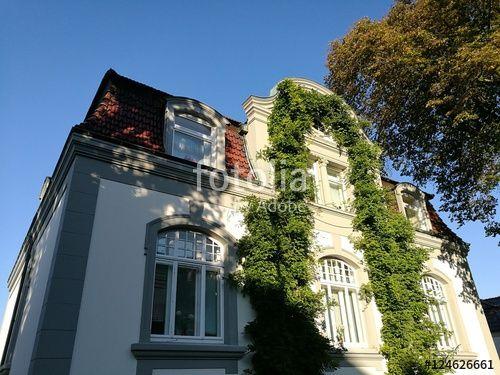 Schöne alte Villa mit begrünter Fassade im sonnigen