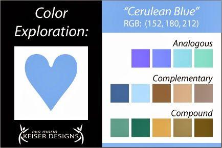 Eva Maria Keiser Designs Explore Color Cerulean Blue Blue Color Schemes Cerulean Blue Color Harmony